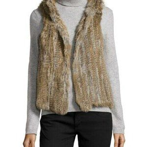 Gorgeous rabbit fur hooded vest medium